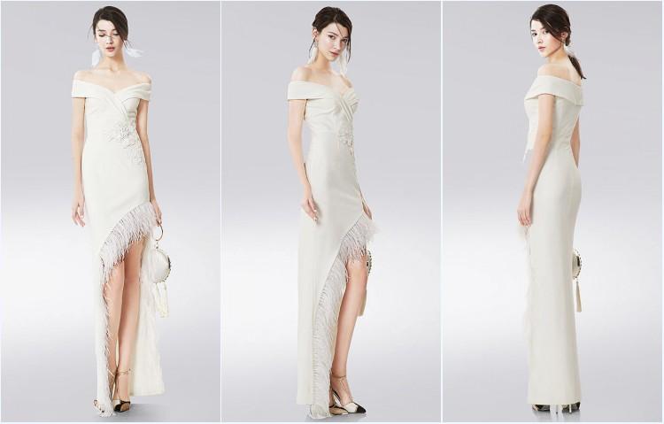 robe blanche courte devant longue derrière épaule dénudé pour bal