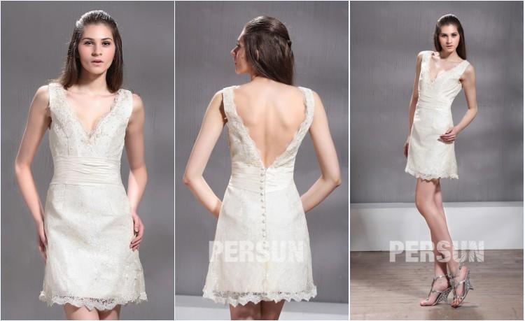 robe de mariée courte fourreau col V en dentelle