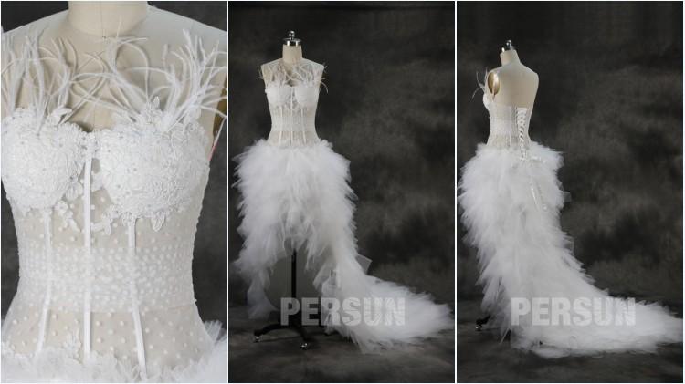 robe de mariée sexy courte devant longue derrière bustier embelli de plumes