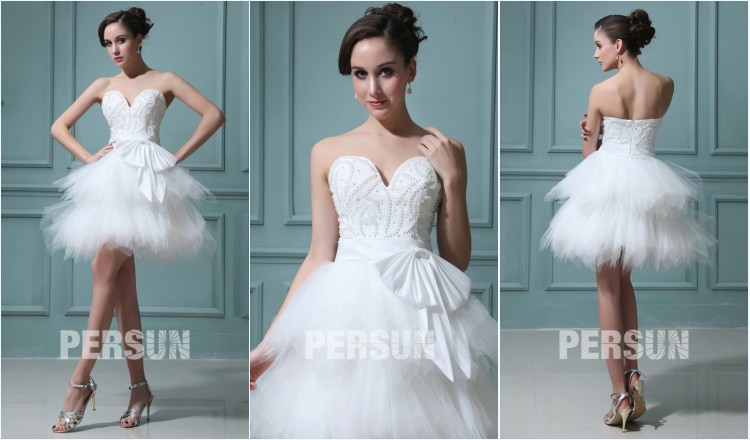 mini robe de mariée sexy bustier coeur embelli de perles & noeud papillon