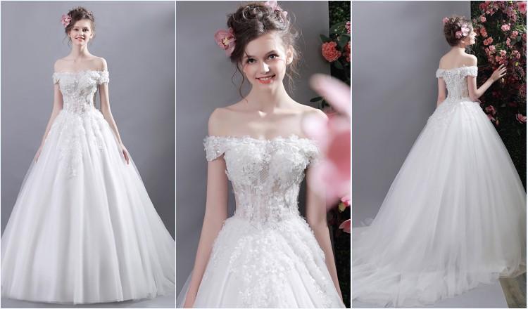 robe de mariée princesse épaule dénudé fleuri