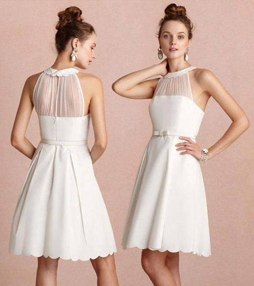 robe de soirée blanche courte col festonné
