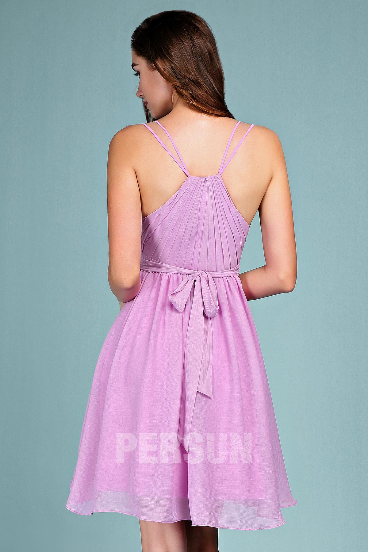 robe lilas courte pour mariage à noeud papillon dans le dos