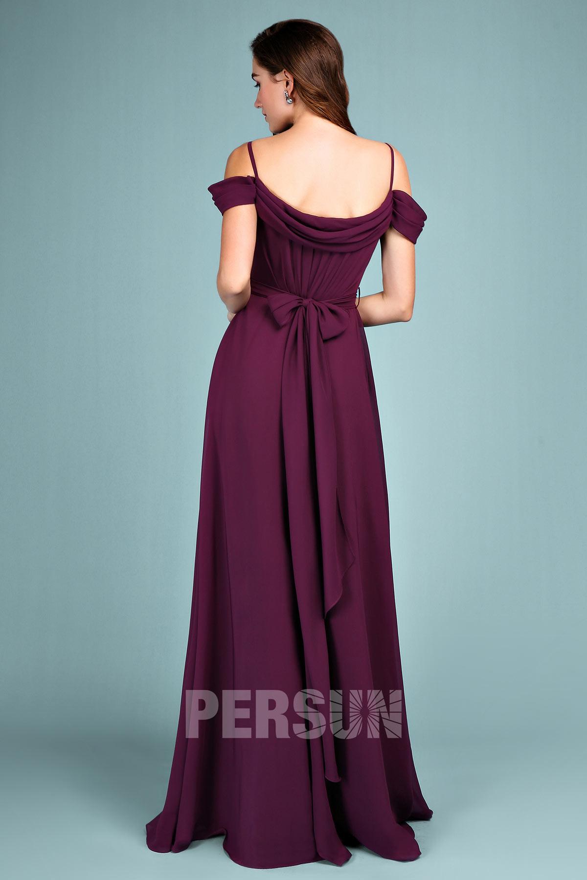 robe prune pour mariage longue à noeud papillon dans le dos