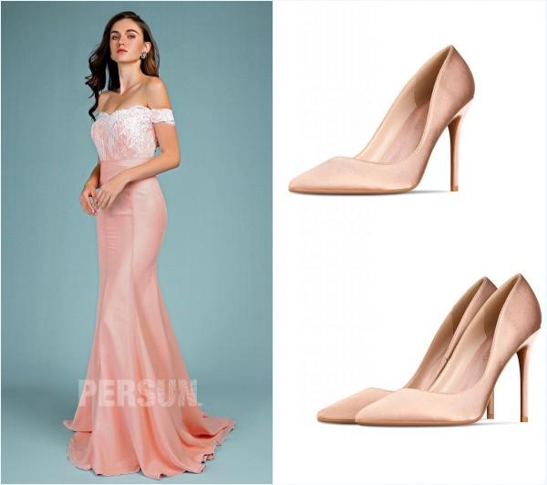robe de soirée vieux rose et escarpins nude