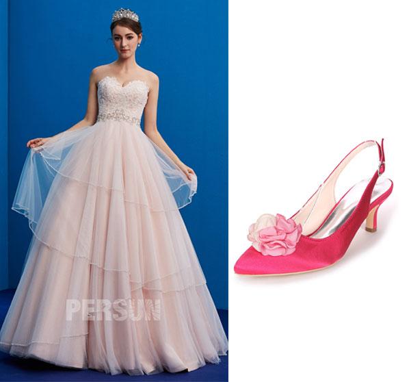 robe de mariée princesse et Slingback rose bonbon