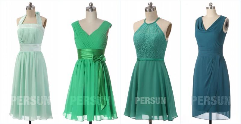 robes de demoiselle d'honneur courtes en nuance verte