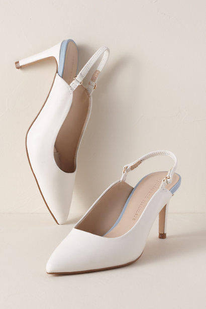 slingback blanc simple à talon