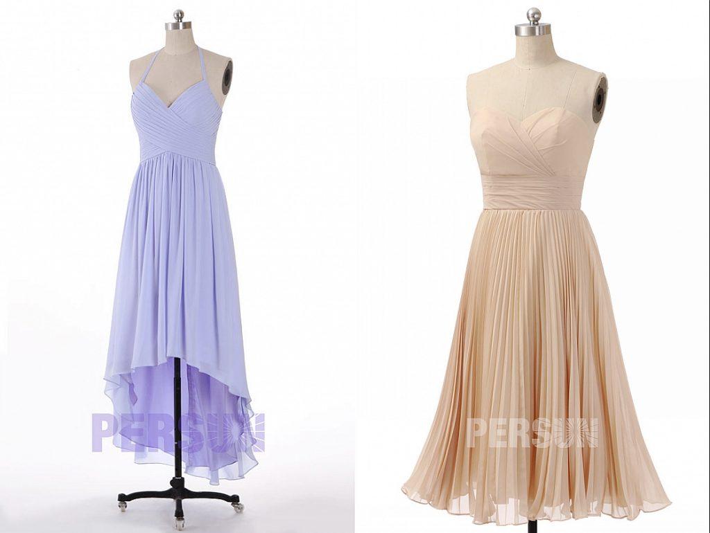 styles différentes robe demoiselle d'honneur bustier cache coeur et jupe plissé