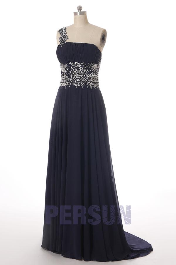 robe élégante de soirée asymétrique bleue marine bustier drapé taille embelli de paillettes dorée de motif