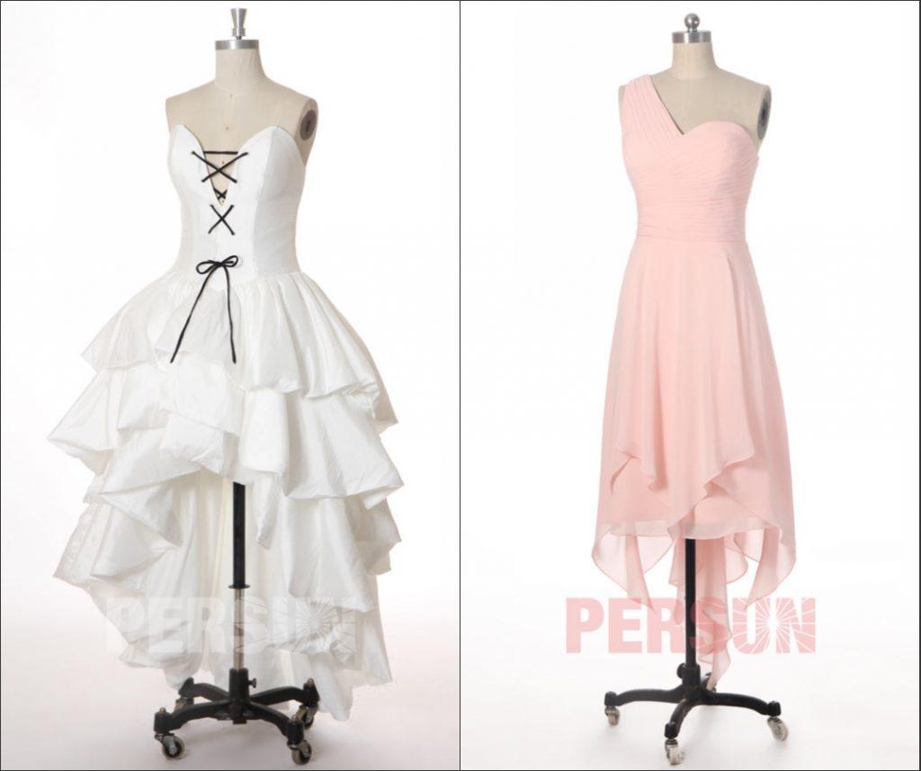 robe de mariée sexy et robe de demoiselle d'honneur rose asymétrique courte devant longue derrière