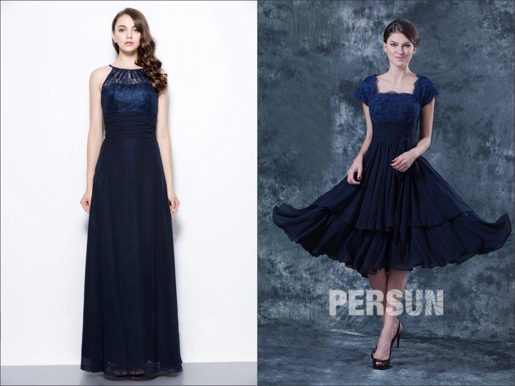 robe de soirée bleue marine haut en dentelle