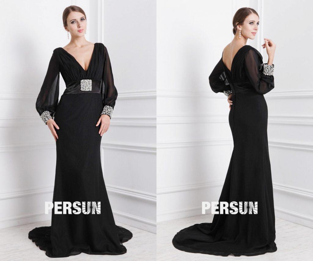 robe de soirée sexy noire longue col v plongeant manches longue et taille embelli de strass