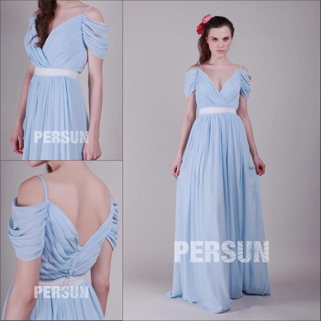 robe demoiselle d'honneur longue bleue épaule dénudé col et dos en v drapé avec ceinture blanche