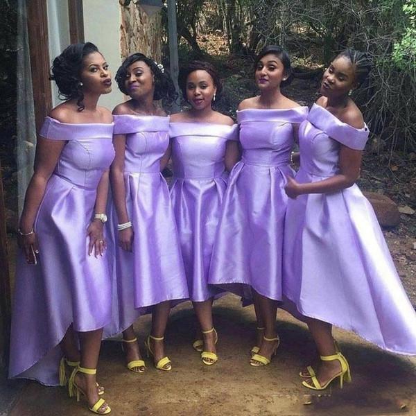 robe cortege violette courte devant longue derrière épaule dégagée