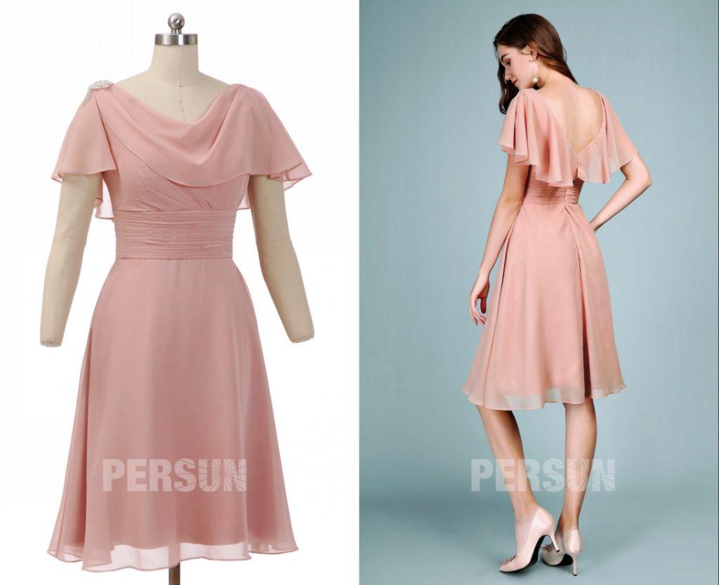 robe temoin de mariage mi-longue vieux rose avec cape taille plissé