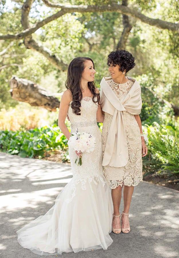 robe mère de la mariée champagne mi-longue en-dentelle