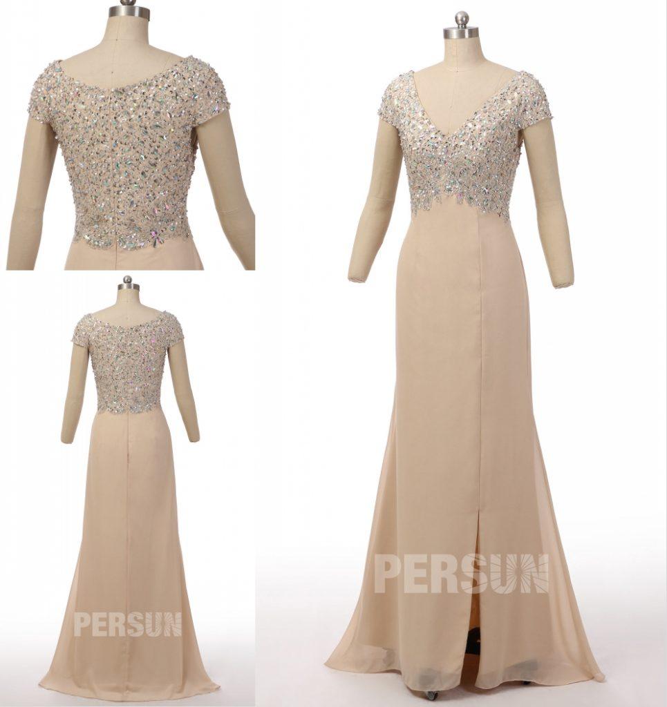 robe de soirée longue champagne claire col v fendue mancheron embelli de bijoux exquis