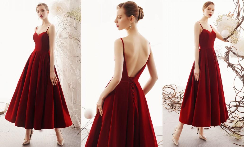 robe invité mariage bordeaux longue bustier coeur avec bretelle fine dos ouvert