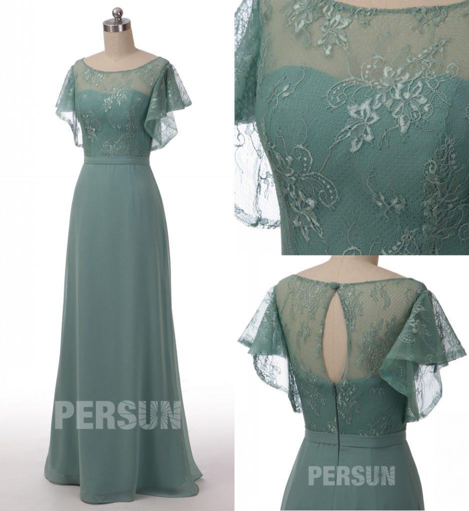 robe demoiselle d'honneur longue vert jade haut en dentelle florale à manche courte volant