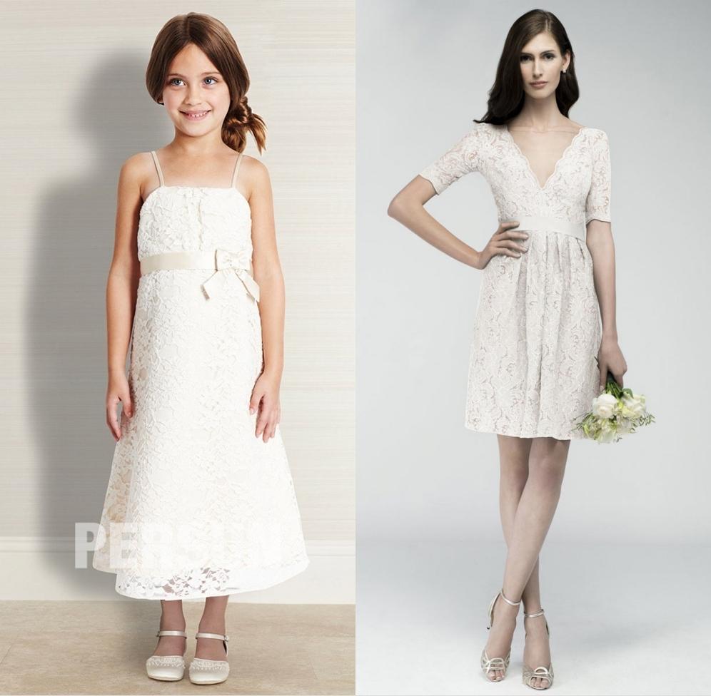 robe demoiselle honneur blanche en dentelle