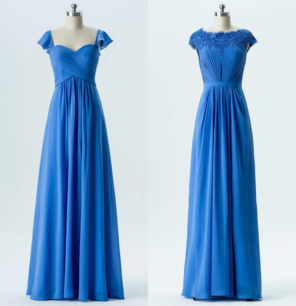robe demoiselle d'honneur longue bleu bustier plissé