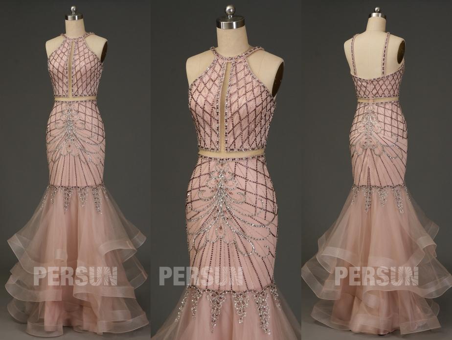 robe invitée mariage rose sirène embelli de strass col halter bustier découpé jupe volant