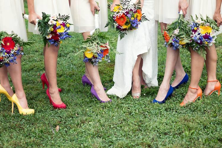 chaussure demoiselle d'honneur colorée à talon haut