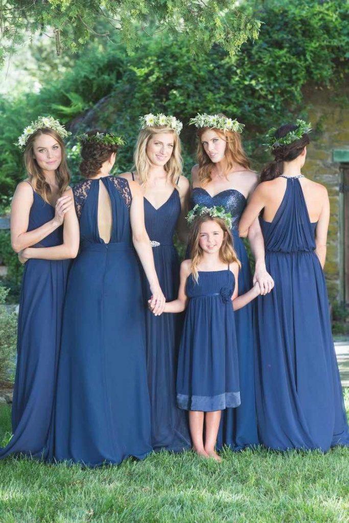 robe demoiselle honneur longue bleu classique
