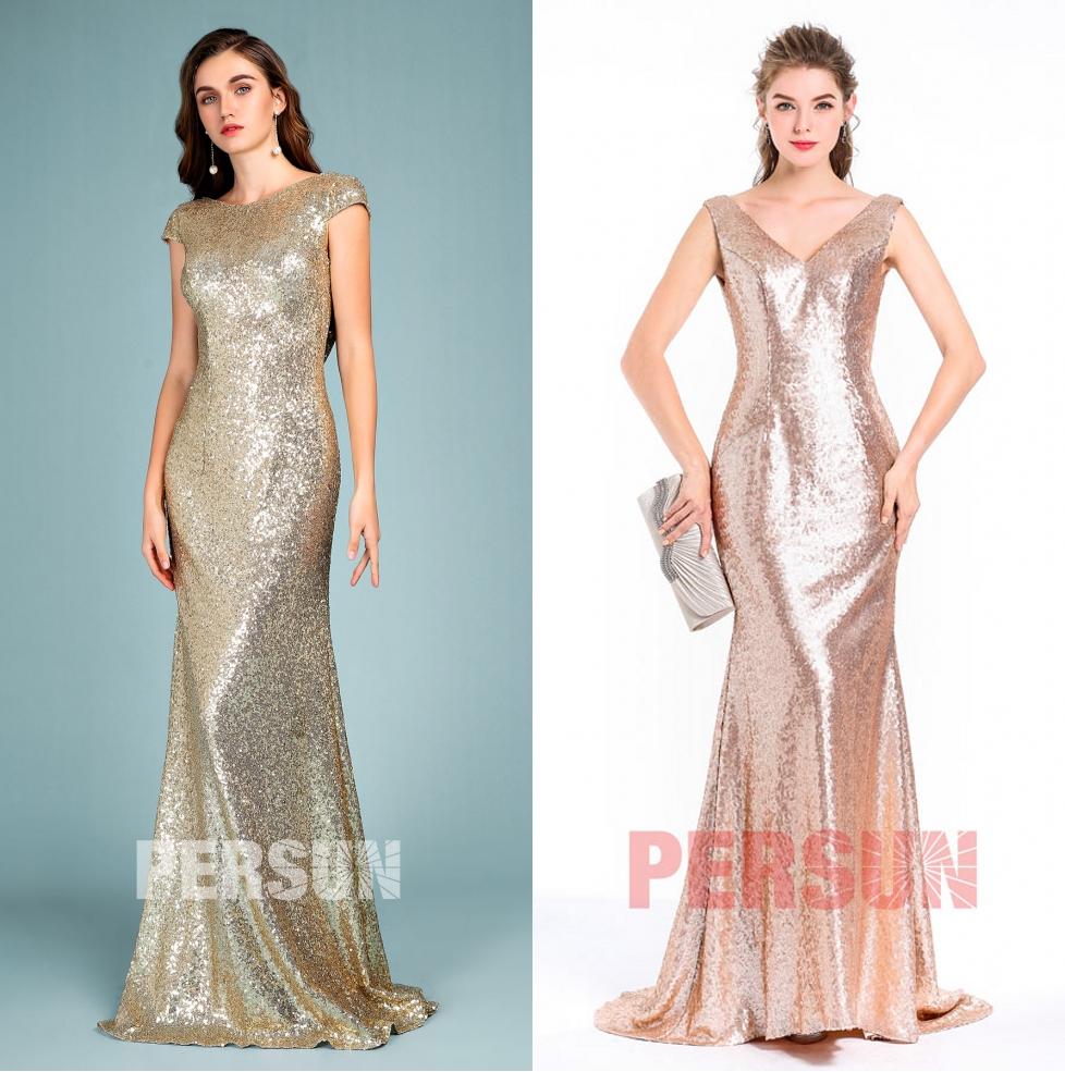 robe demoiselle honneur longue sirène en paillettes scintillants
