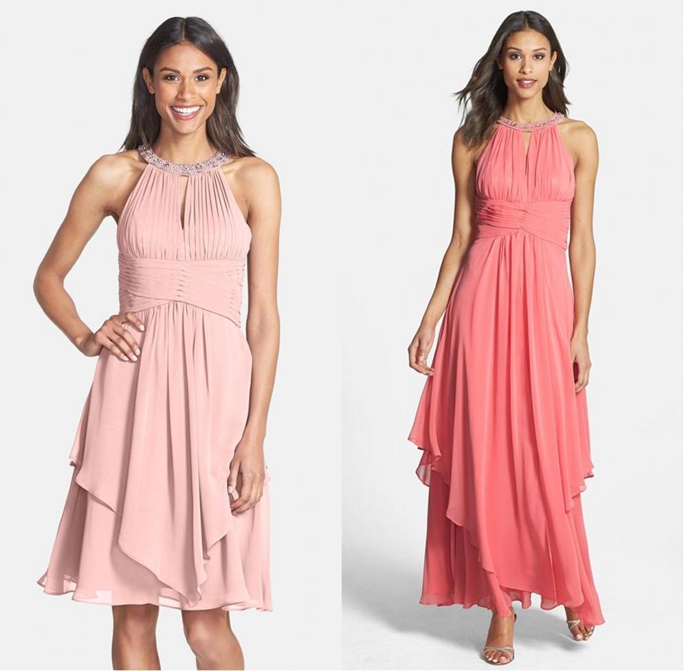 robe demoiselle honneur col halter bustier drapé jupe asymétrique