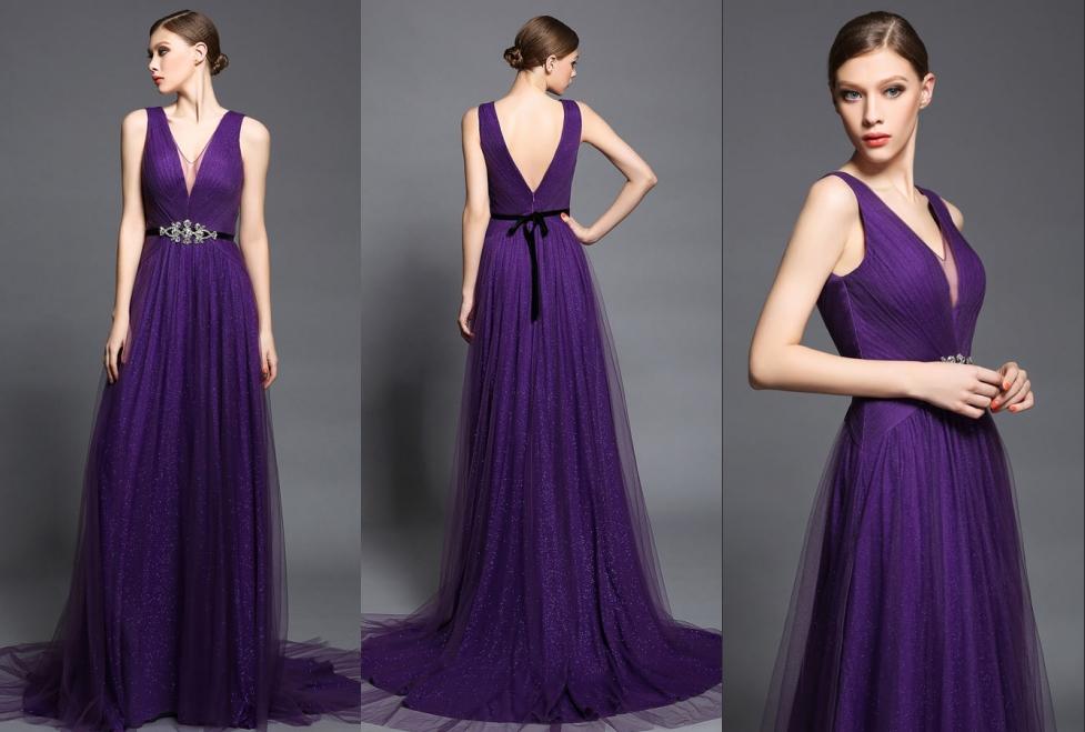 robe demoiselle d'honneur longue violette décolletée v doublure pailleté recouvert de tulle