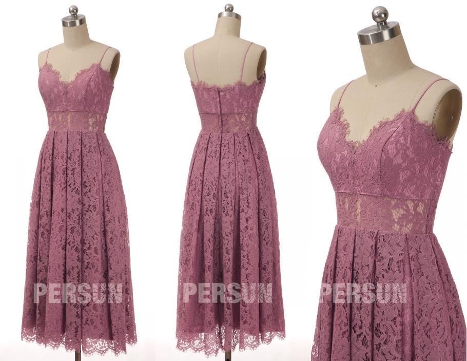 robe demoiselle honneur mi-longue rose col v feston en dentelle à bretelle fine