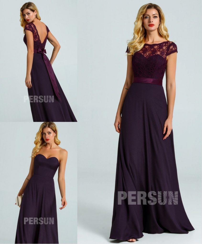 robe demoiselle d'honneur prune longue bustier coeur avec haut en dentelle dos nu détachable