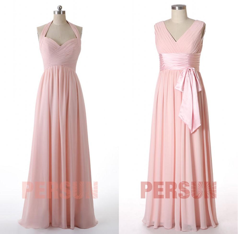 robe demoiselle d'honneur longue rose pâle bustier drapé