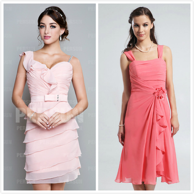 robe cocktail courte rose pastel corail