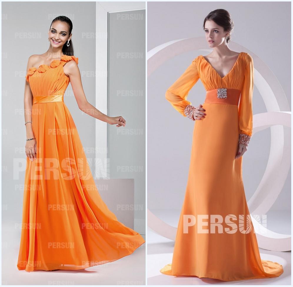 robe longue demoiselle d'honneur orange