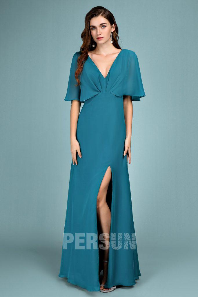 robe demoiselle d'honneur longue vert pin fendue col v avec manche cape courte