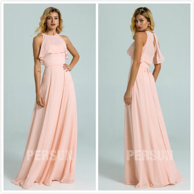 robe longue rose pastel à haut volants pour été