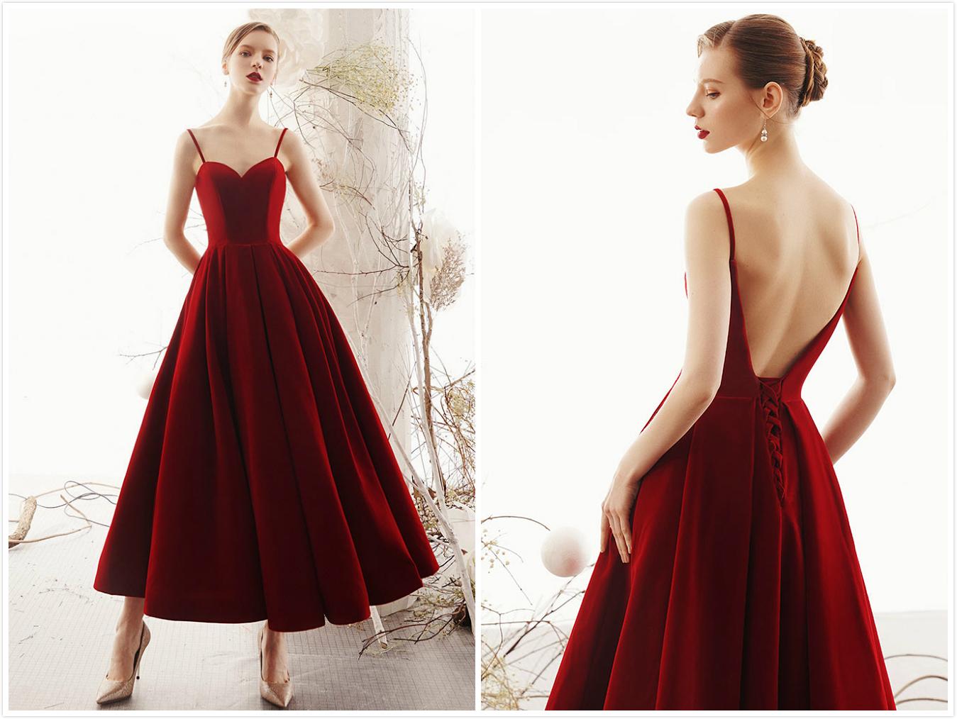 robe demoiselle d'honneur rétro rouge bordeaux velours dos dénudé