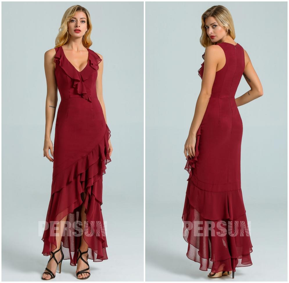 robe court devant long arrière mousseline bordeaux à volants pour mariage