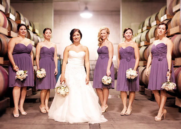 robe demoiselle d'honneur violette courte bustier coeur
