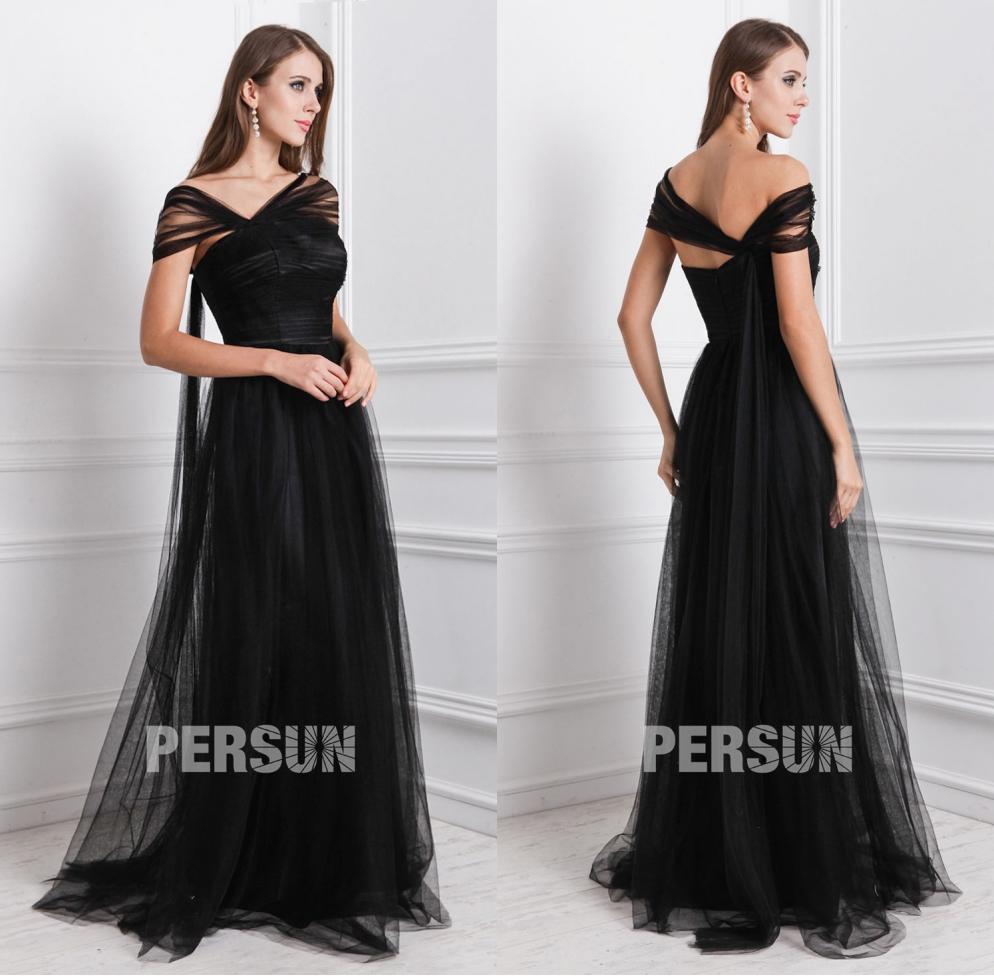 robe noire demoiselle d'honneur longue encolure asymétrique en tulle