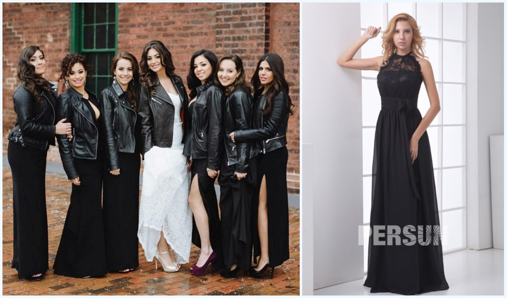 robe noire longue dentelle col américain pour demoiselle d'honneur