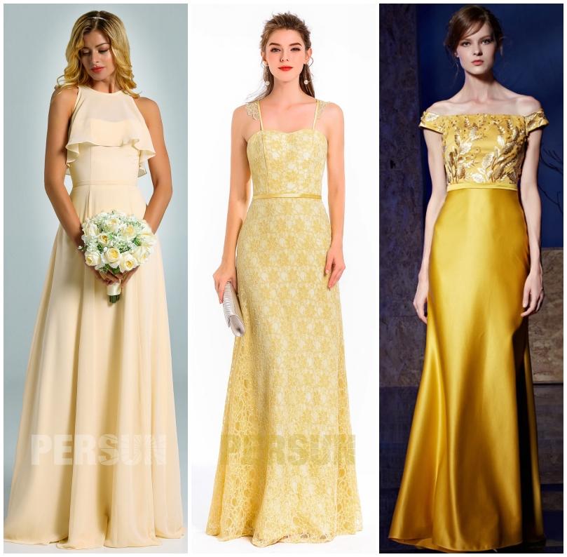 robe jaune longue 2020 pour invitée mariage