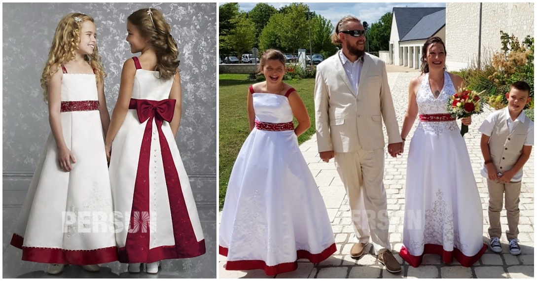 robe cortège enfant princesse bicolore en satin