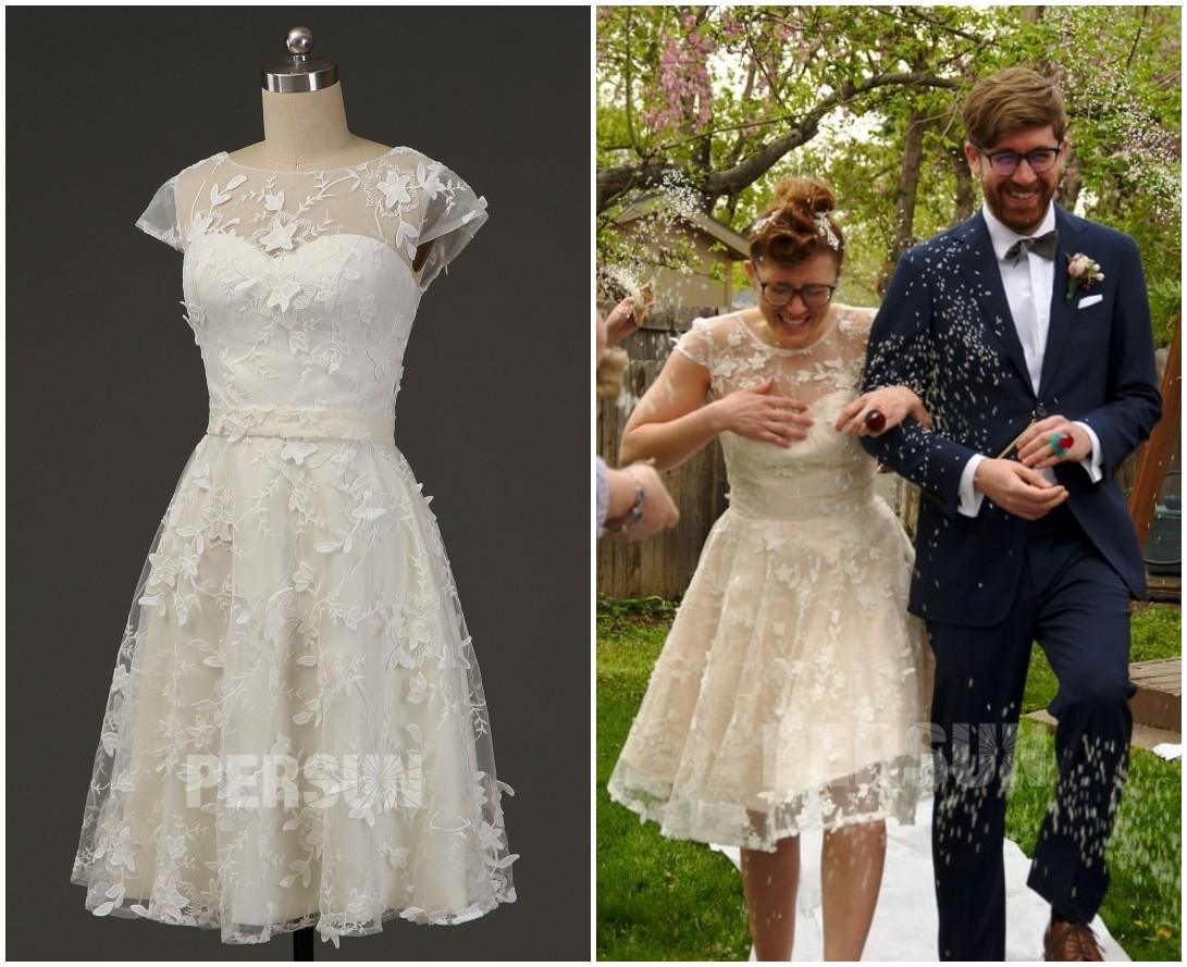 robe de mariée crème courte en dentelle 3D avec mancherons