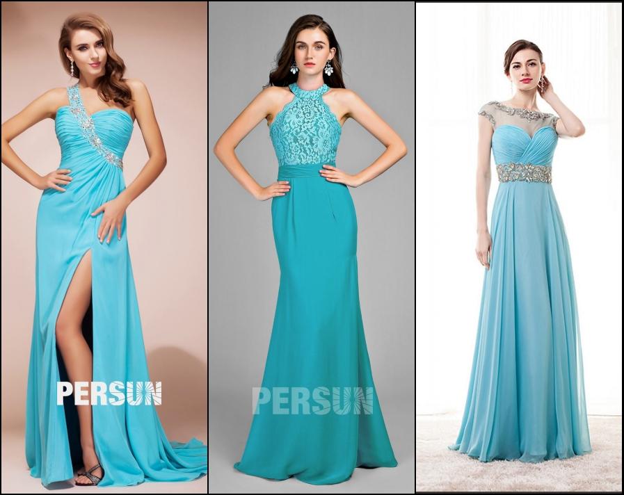 robe demoiselle d'honneur turquoise longue