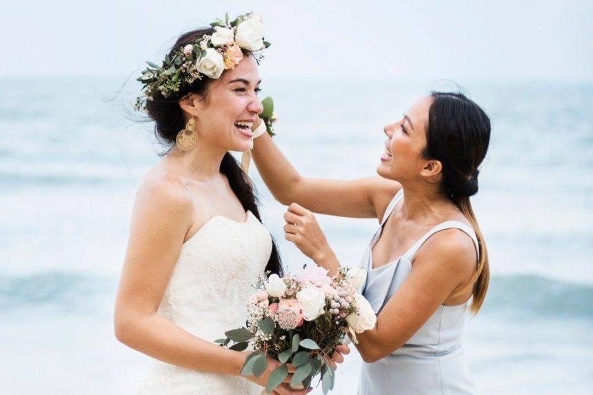 mariée et témoin de mariage