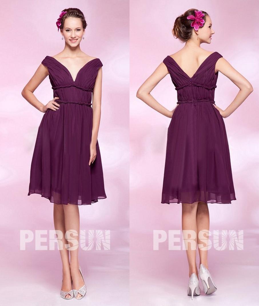 robe courte prune col v profond